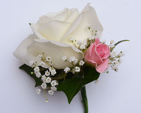 Wedding Buttonholes White & Pink Roses